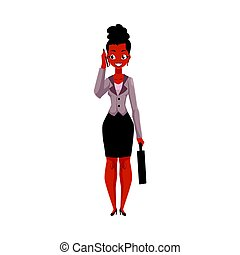 Black, African American businesswoman with briefcase talking by mobile phone