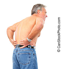 back pain - man having back pain. Isolated over white...