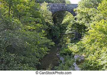 Old stone bridge in the Ardeche district, France