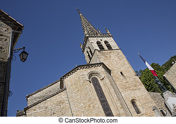 Church in the small town of Sanilhac, Ardeche, France
