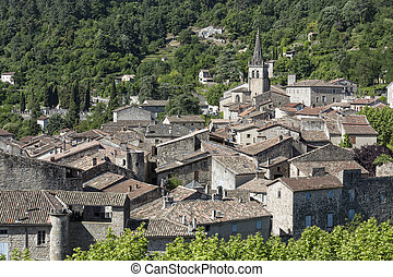 The small town of Largentiere in the Ardeche district,...