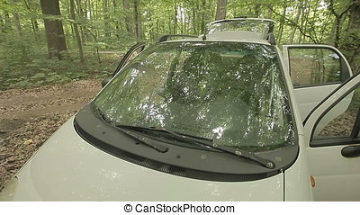Windshield Of Abandoned Small White Car In Forest -...