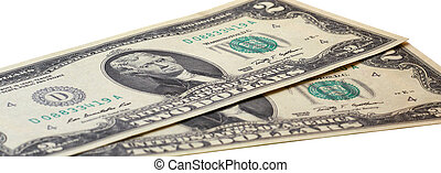 Close up of two dollars isolated on white background.