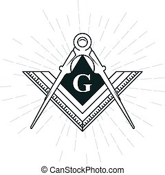 Freemason symbol - illuminati logo with compasses and ruler