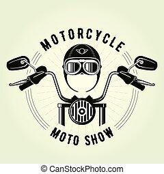 Chopper moto handlebar and vintage motorcycle helmet