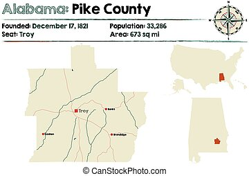 Alabama: Pike county - Large and detailed map of Pike County...