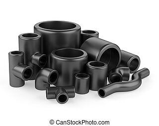 Black pipe fittings set on a white background.