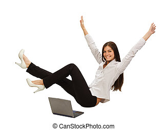 businesswoman with laptop - Young businesswoman with laptop...
