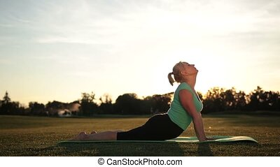 Sporty beautiful woman practicing yoga in park - Pretty...