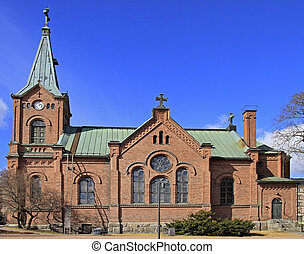 Lutheran cathedral in Jyvaskyla, Finland in a sunny spring...