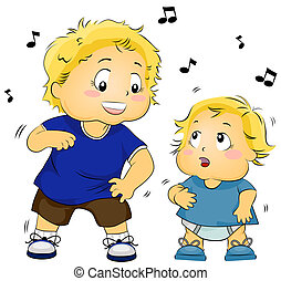 Kid Teaching Baby to Dance - Illustration of a Young Boy...