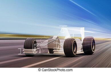 sport car outline on road