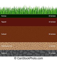 Seamless soil layers - Seamless named soil layers with green...