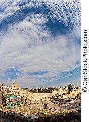 Windy autumn day in Jerusalem - Autumn holiday of Sukkot....