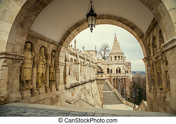 Fisherman's Bastion in Budapest in Hungary at day