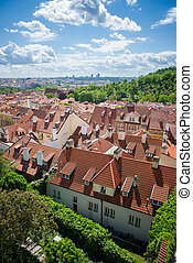 Prague top view - top views of the old town in Prague