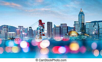 Hong Kong night - Night view of Hong Kong Victoria Harbor