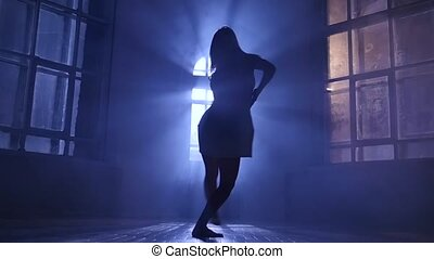 Modern girl with long hair dance contemporary, silhouette....