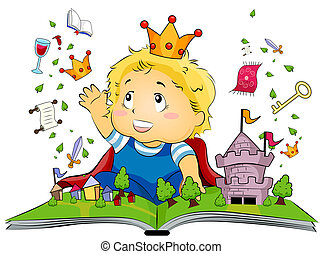 Fantasy Book - Illustration Featuring a Kid Delighted at a...
