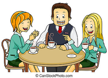 Coffee Break - Illustration Featuring Employees on their...