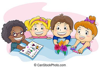 Present for Teacher - Illustration Featuring Kids Showing a...