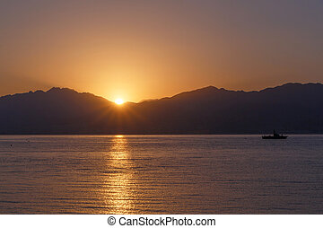 view on sunrise from Eilat, Israel