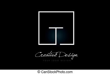 T Square Frame Letter Logo Design with Black and White...