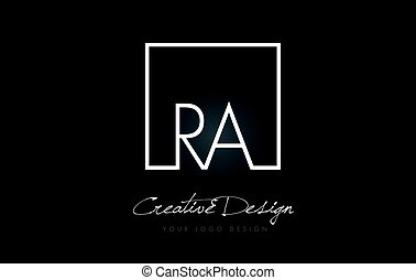 RA Square Frame Letter Logo Design with Black and White...