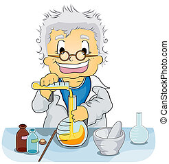 Scientist in a Laboratory - Illustration Featuring a...
