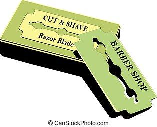 razor blade - Traditional razor blade resting on blade box.