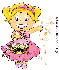 Flower Girl - Illustration Featuring a Flower Girl...