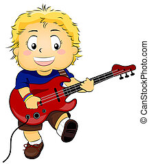 Kid with Electric Guitar - Illustration of a Kid Strumming...