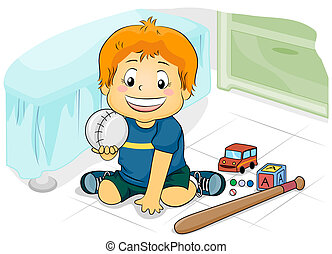 Playthings - Illustration Featuring a Young Boy Playing with...
