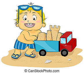 Sand Castle Truck - Illustration of a Young Boy Pushing a...