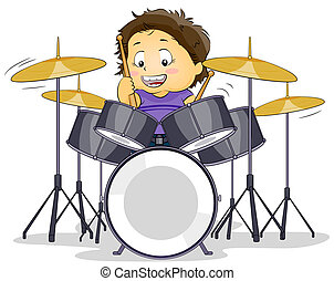 Drummer - Illustration of a Kid Playing with a Drumset
