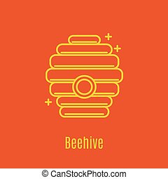 Vector illustration of thin line icon beehive for medicine,...
