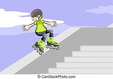 Rollerblader jumping down stairs. Conceptual vector...