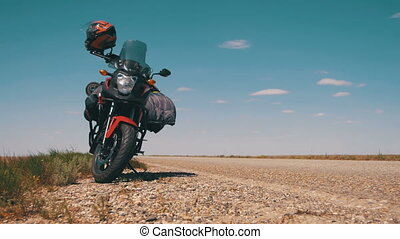 Traveling on a Motorcycle. Moto Travel. Motorcycle Stands...