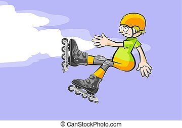 Cool Rollerblader boy is jumping high in air. Conceptual...