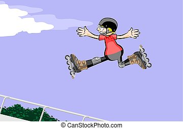 Rollerblader boy jumping in the skate park. Conceptual...