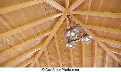 Ceiling Lights of Wooden Dining Deck Pan Shot - Balancing...