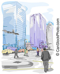Urban Sketch - An Urban Sketch of People and Buildings
