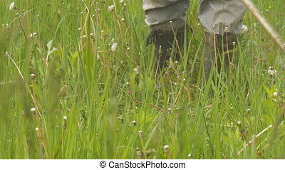 A man mowing the grass in the garden closeup