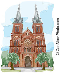 Notre Dame Cathedral - Sketch of Notre Dame Cathedral in...
