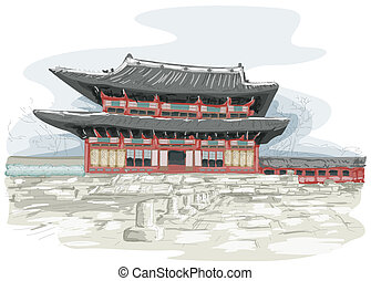 Korean Temple - Sketch of Temple in Seoul, South Korea
