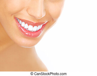 Woman teeth - Beautiful young woman teeth Isolated over...