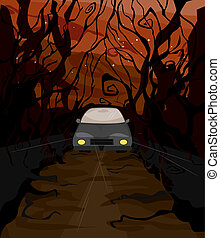 Drive through the Woods - Illustration of a Lone Car Driving...