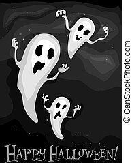 Ghosts Background - Illustration of Floating Ghosts Against...