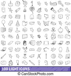 100 light icons set, outline style - 100 light icons set in...