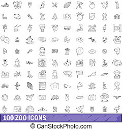 100 zoo icons set, outline style - 100 zoo icons set in...